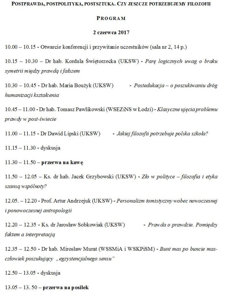 Program konferencji cz 1